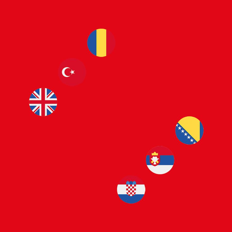 Bild einer Spritze mit Länderflaggen von UK, Türkei, Rumänien, Bosnien, Kroatien und Serbien